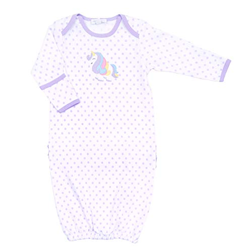 Magnolia Baby Baby Girl Unicorn Applique Ruffle Gown Lilac Small