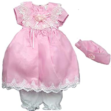 Amazon.com: SIZE: L - Special Occasion Pink Baby Girl Fancy Dresses with Hat and Bloomers (6M to 24M): Infant And Toddler Special Occasion Dresses: Clothing