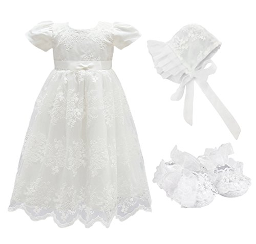 Shoes 2 Free Ship (Glamulice Baby Girls Flower Christening Baptism Dress Formal Party Special Occasion Dresses For Toddler (3M / 0-6Months, White-3pcs))