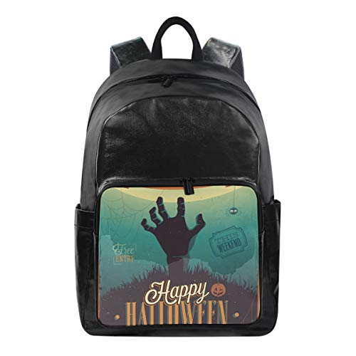 SUABO Student Backpack, Canvas School Backpack Durable Travel Laptop Backpack Halloween Zombie Party Book Bag Rucksack]()