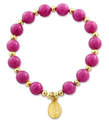 Mountain Jade Violet Red Beaded Bracelet with Lady of Guadalupe Gold Plated Medal