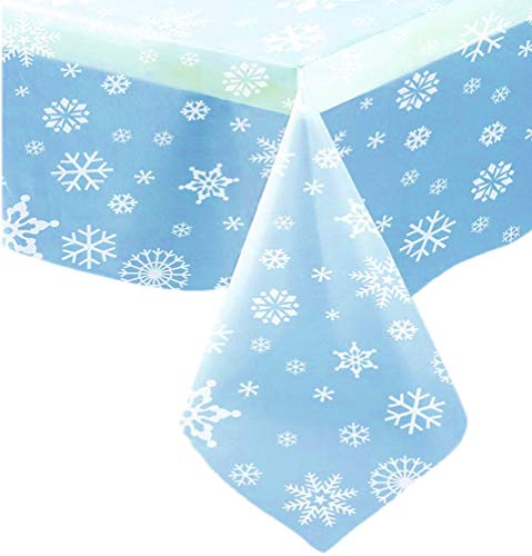 Snowflakes Plastic Tablecover Set - One Clear Tablecloth
