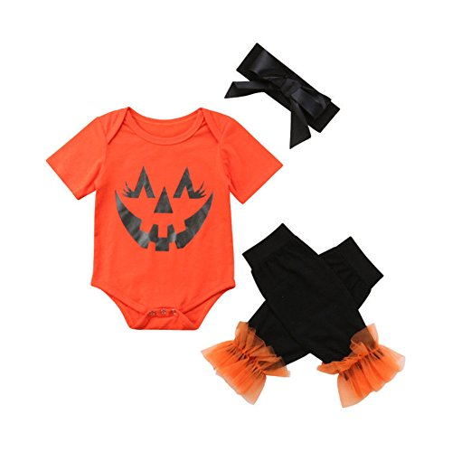 newEmergingstyle Newborn Baby Halloween Costums Girl Romper Tops Leg Warmer Headband Outfit Clothes 0-24M
