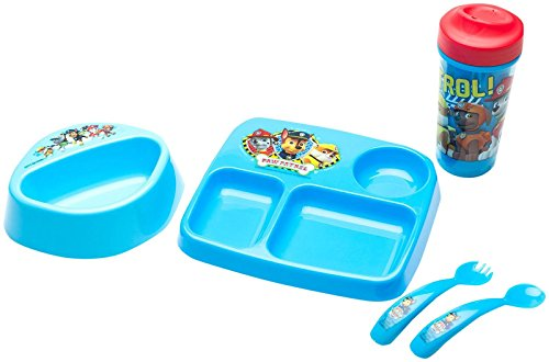 Zak! Designs Paw Patrol Boy Dinner/drinkware 5pc, (Flow Blue Dinner Plate)