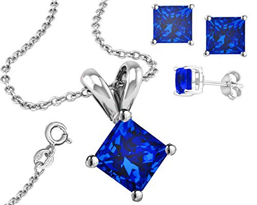 925 Sterling Silver Cubic Zirconia Princess Cut Pendant and Earrings Combo Synthetic Tanzanite by FANTOM JEWELRY