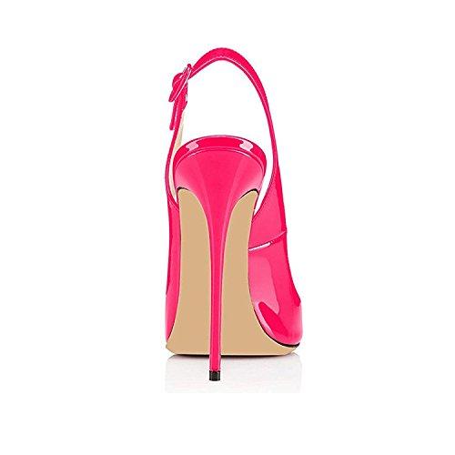 Slingback rosa Donna Spillo Fibbia elashe Caviglia da Toe con a Scarpe Cinturino Sandali Peep Tacco qUXwRnfRFx