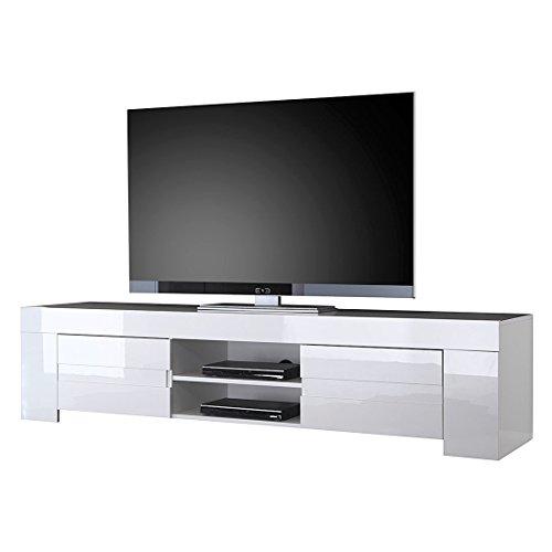 TV Schrank Eos gross mit 2 Türen, 190 x 45 x 50 cm, weiß hochglanz
