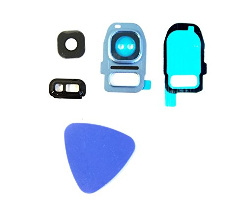 (md0410) S7 / S7 EDGE Coral Blue Back Glass Camera Flash Lens Cover Replacement For Samsung Galaxy G930 G935 + Adhesive + Tool
