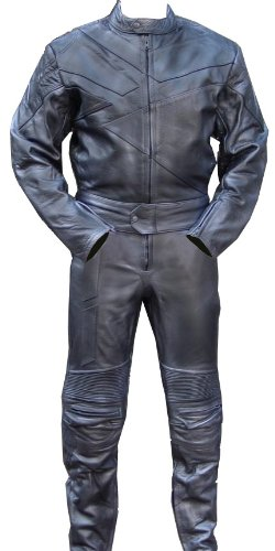 2pc Motorcycle Riding Racing Track Suit w/ padding All Leather Drag Suit Black -X-large