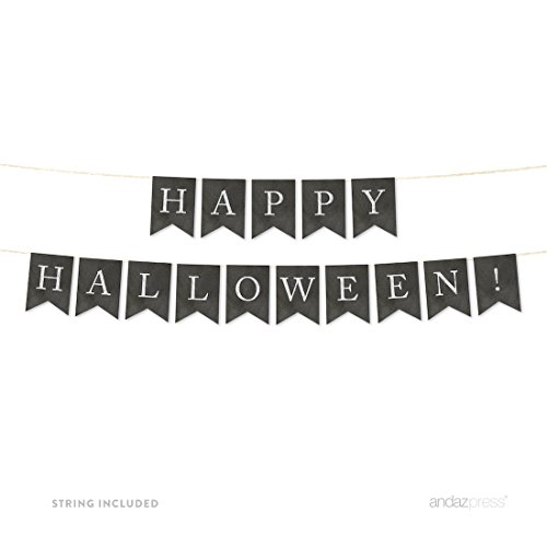 Andaz Press Hanging Bunting Pennant Party Banner with String, Vintage Chalkboard Cardstock, Happy Halloween!, 4-Feet, 1-Set, Includes String