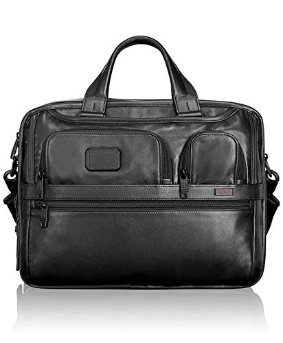 TUMI - Alpha 2 Expandable Organizer Leather Laptop Brief Briefcase - 15 Inch Computer Bag for Men and Women - Black