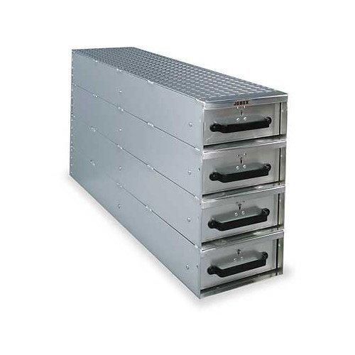 (JOBOX 1409980 4-Drawer Long Stacked Heavy-Duty Aluminum Drawer Storage - (12
