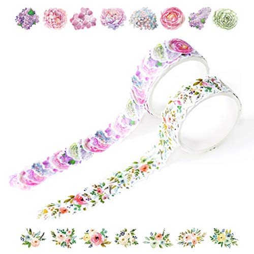 Yubbaex Floral Washi Tape Stickers Set Collage Petal Decorative Tape for Arts, DIY Crafts, Bullet Journal Supplies, Planners, Scrapbooking, Wrapping -2 Rolls/200 Pcs- (Floral Dream)