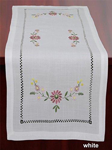 Creative Linens Hemstitch Embroidered Daisy Flower Table Runner 15x34 Dresser Scarf White Rectangular