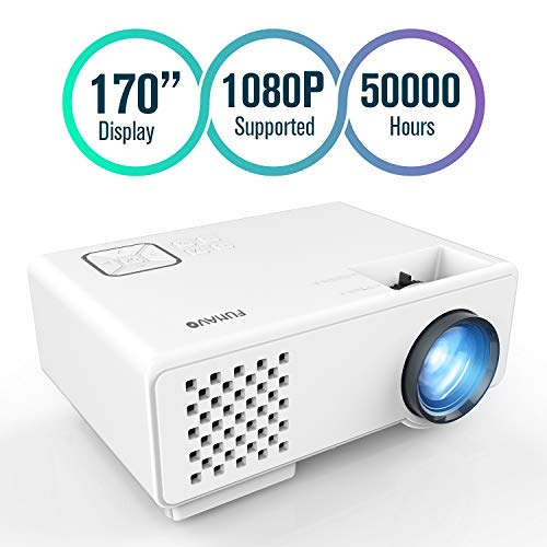 FUNAVO Projector, RD-815 Mini Projector Portable, Full HD 1080P Supported, 50000 Hours Video Projector for Smartphones, Amazon Fire TV Stick & DVD Multimedia Home Theater via HDMI, USB, VGA &AV -