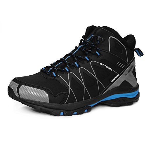 GRITION Mens Walking Boots Waterproof Running Hiking Boots Slip Resistance Outdoor Lightweight Lace Up Trainers Ankle Protection Winter Warm Breathable Shoes (10 US, Black)