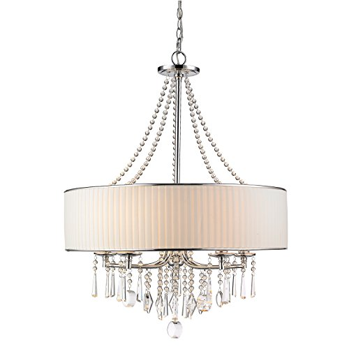 CLAXY Ecopower Lighting Crystal & Metal Drum Pendant Lighting Chandelier
