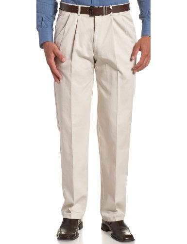Haggar Men's Big-Tall Work to Weekend Hidden Expandable Waist Pleat Front Pant,String,48x30 Weekend Cotton Pleated Pants