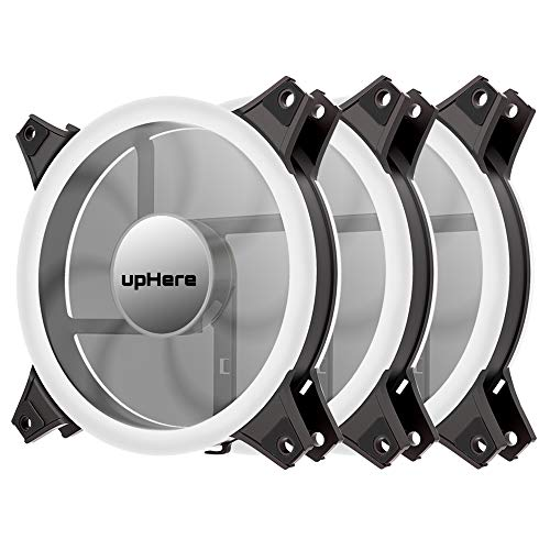 upHere White Computer Case Fan 120mm LED Silent Fan for Computer Cases, CPU Coolers, and Radiators Ultra Quiet, Premium Edition,3 Pin 3 Pack/W12CM3-3