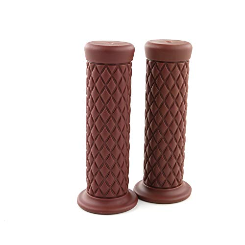 Vintage Rubber Motorcycle Handlebar Grips, for All 22mm (Left)+25mm (Right), 7/8 inch (Left)+1 inch(Right) Handlebar (Brown)