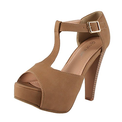 - TOP Moda Table-1 Women's peep Toe Platform Chunky Heel Closed Back Buckle T-Strap Nubuck Pumps Tan 9