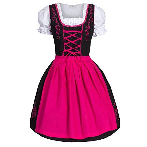 Dirndl 3 tlg.Trachtenkleid Kleid, Bluse, Schürze, Gr. 34-52 schwarz pink