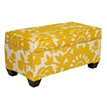 Skyline Furniture A-6225ST-GERBERSUN Upholstered Storage Bench in Gerber Sungold