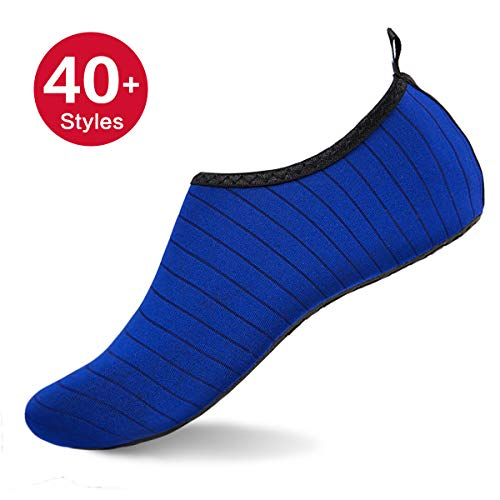 - Womens and Mens Water Shoes Barefoot Quick-Dry Aqua Socks for Beach Swim Surf Yoga Exercise (TW.Blue M)