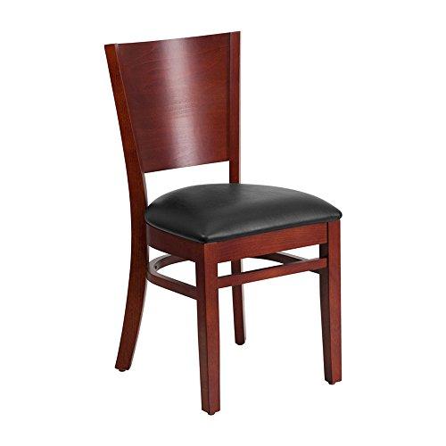 Offex Solid Back Mahogany Wooden Vinyl Upholstered Restaurant Chair - Black Vinyl Seat
