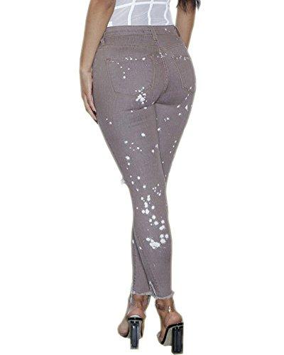 Stretch Taille ZhuiKun Jean Leggings Jegging Pantalon Comme Image Haute Collant Moulant Trou Femme Denim qffHEFCZa