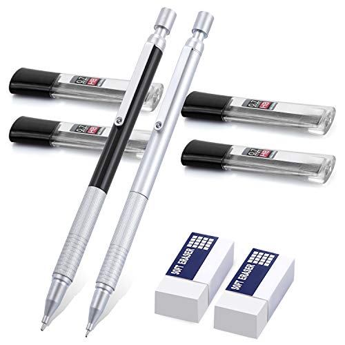 ExcelFu Mechanical Pencil Set, 2 Pieces 0.7 mm Metal Automatic Drafting Pencils with 4 Tubes HB Lead Refills and 2 Erasers for Drawing, Writing, Signature, Come with a pouch
