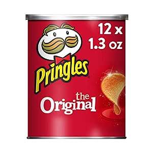 Pringles The Original Potato Crisps - Salty Snacks, School Lunch Food, Single Serve 1.3 oz Can (Pack of 12)