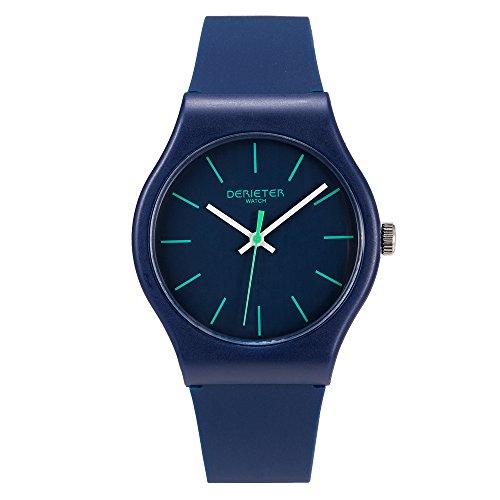 Teenager Plastic Quartz Watches Boys Girls Unisex Silicone Strap Plastic Waterproof Youth Student Wrist Watch (Dark Blue)]()