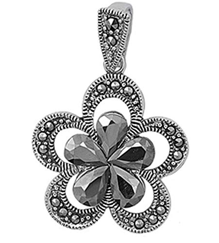 Flower Pendant Simulated Marcasite .925 Sterling Silver Charm Vintage Crafting Pendant Jewelry Making Supplies - DIY for Necklace Bracelet Accessories by CharmingSS