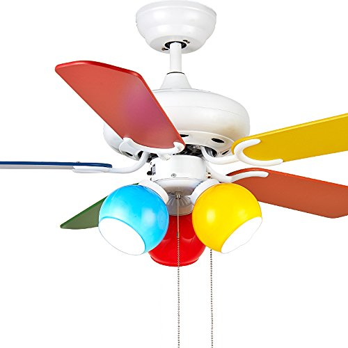 RainierLight Colourful Cartoon Kid Ceiling Fan 5 Wood Leaves Pull Rope Protect Eyesight Mute For Bedroom/Living Room/Kids Room 42-Inch Children Round Circles Chandelier Remote Control(White) by RainierLight