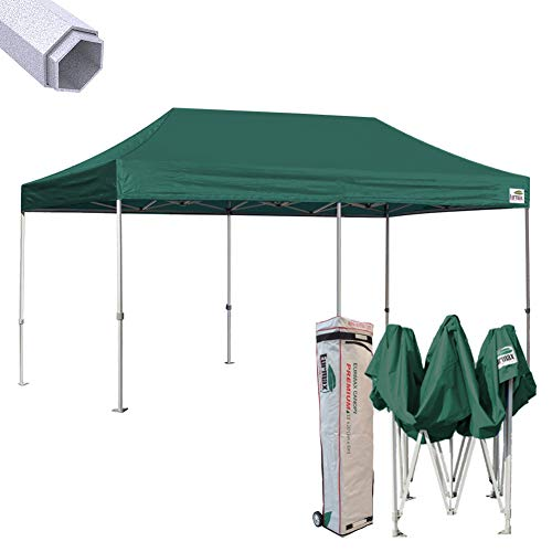 Eurmax 10 x 20 Premium Ez Pop up Canopy Instant Tent Commercial Grade Wedding Party Tent Gazebo Shade Shelter Bonus Wheeled bag (Forest Green)