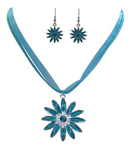 Trachtenschmuck Dirndl Blüten Kristall Set - Kette und Ohrringe (Blau / Türkis)