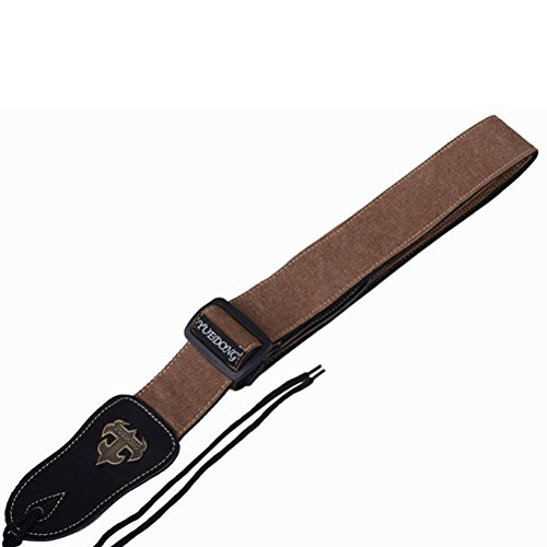 ROSENICE Guitar Strap Adjustable Polyester Stap Leather End for Bass Guitar (Coffee)