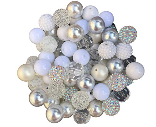 20mm White & Clear Mix 30 Count Chunky Bubble Gum Acrylic Beads Bulk Wholesale Pack Necklace Kit