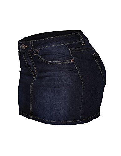 5 Pocket Design (Cielo Women's Mid-Rise Basic 5 Pocket Design/ Casual Welt Pocket Design Sexy Denim Miniskirt (Medium , SK-002 Dark Blue ))