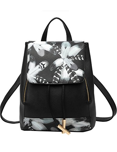 Menschwear Moda Mujer Chica funda mochila escolar bolsa Negro 2 Negro 2