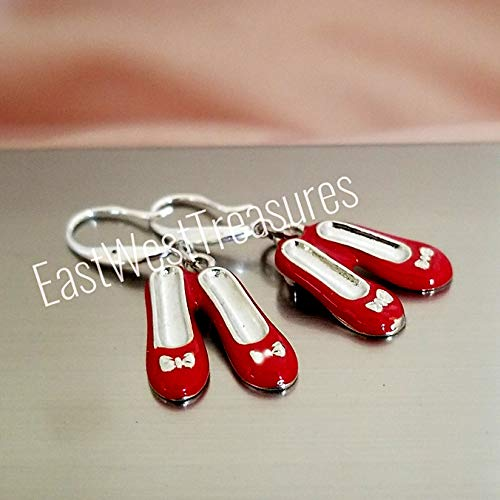 Dorothy ruby red slippers earrings for women teens-Wizard of Oz jewelry gifts-925 silver wires ()