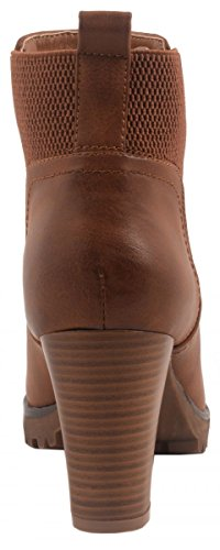 Bottines Chelsea Chaussures London Elara Femmes Camel Boots Bloc Talon XwTqHA