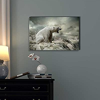 """Canvas Prints Wall Art - White Polar Bear Hunter on The Ice in Water Drops   Modern Wall Decor/Home Decoration Stretched Gallery Canvas Wrap Giclee Print. Ready to Hang - 12"""" x 18"""""""