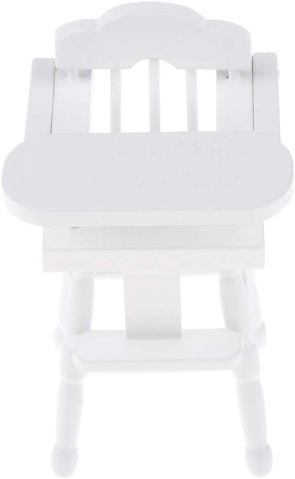 Dollhouse Baby Furniture Accessories Wood 1:12 Scale Dollhouse Decorations Kit Miniature Wooden Chair High Chair Dining Chair