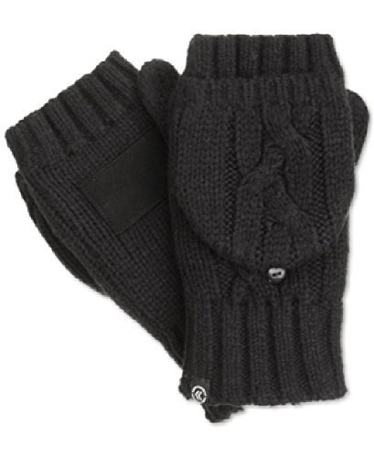 Isotoner Black Cable Knit Convertible Fingerless Gloves To Mittens, One Size