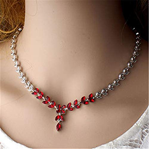 Indian Women's Red Crystal Wedding Jewelry Set Bridal Necklace Earrings Set Gift 2