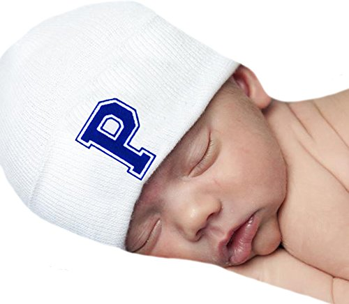 Melondipity Baby Hat First Initial Royal Blue Flocked Letter White Hospital Hat (P)