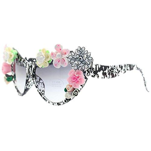 arcilla a Gafas Gafas los de sol de sol ojos de polímero gato de Gafas de coloridas la de mujer sol del flor hechas mano dispo de para del verano ULTRAVIOLETA protección la Gafas de playa de sol de la aCrxzqwa