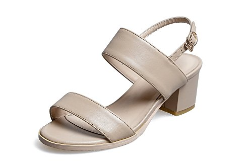 1TO9 Womens Chunky Heels Slip-Resistant Spikeless Pleather Heeled Sandals MJS02689 Apricot jlCRa9i7Fc